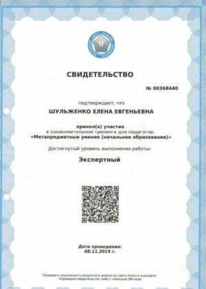 Шульженко Елена Евгеньевна